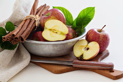 Fresh apples cut in a bowl Stock Images