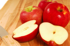 Fresh apples on a cutting board Stock Photography