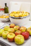 Fresh apples with dried apricots and raisins. Fresh apples with dried apricots and raisins Royalty Free Stock Photo