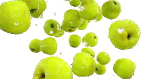Fresh apples falling. Food concept. Slow motion. Isolate with alpha royalty free illustration