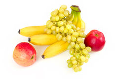 Fresh apples, grape and bananas Royalty Free Stock Photos