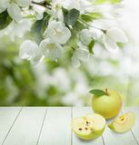Fresh Apples, Green Leaves, Spring Flowers. And White Empty Wooden Table on Abstract Soft Focus Background with copy space Royalty Free Stock Images