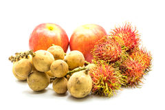 Fresh Apples, Longkong and Rambutans. On white background Stock Image