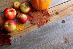Fresh Apples, Pumpkins, and Maple Leaves Border Wood Background Royalty Free Stock Images