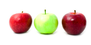 Fresh apples in a row Royalty Free Stock Images