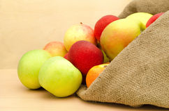 Fresh apples in the sack. Close-up on  a light wooden background Royalty Free Stock Photos
