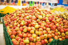 Fresh apples to sell on the market. Selective focus. Stock Images