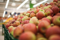 Fresh apples to sell on the market. Selective focus. Royalty Free Stock Photo