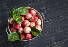 Fresh apples in a vintage colander Stock Photos
