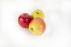 Fresh apples on white background. Blank page of note book on white Royalty Free Stock Images