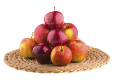 Fresh apples in a wicker baskets Stock Images