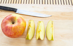 Fresh apples on wooden background Royalty Free Stock Image