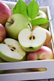 Fresh apples in a wooden box Royalty Free Stock Image