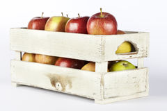 Fresh apples in a wooden crate Royalty Free Stock Photos