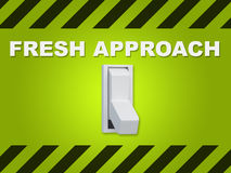 Fresh Approach concept. 3D illustration of `FRESH APPROACH` title above an electric switch on green wall Stock Image