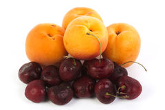 Fresh Apricot and Cherry Stock Images