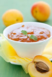 Fresh apricot jam. In a bowl with mint Royalty Free Stock Images