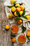 Fresh apricot juice in glass on wooden table, selective focus Royalty Free Stock Images