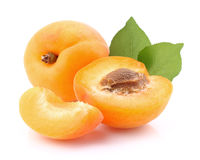 Fresh apricot with leaves Stock Photos