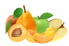 Fresh apricot, peach, apple and pear isolated on white Stock Image