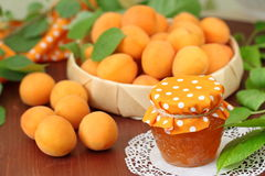 Fresh apricots and apricot jam Stock Photography