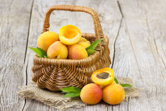 Fresh apricots in a basket Stock Images