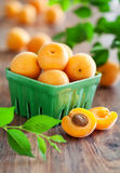 Fresh apricots in bowl on table Royalty Free Stock Photos