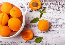 Fresh apricots on a bowl, top view Stock Photography