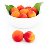 Fresh apricots in front and in the white bowl isolated Stock Images