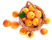 Fresh apricots with green leaf in wicker Royalty Free Stock Images