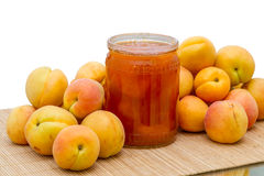 Fresh apricots and jam Stock Images