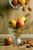 Fresh apricots with nuts Royalty Free Stock Images