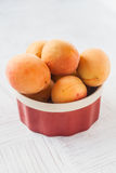 Fresh apricots in a plate on the table Stock Image