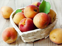 Fresh Apricots. Fresh Ripe Apricots in a Basket Royalty Free Stock Photos