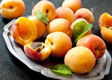 Fresh Apricots. Sweet Apricots with Leaves in a Plate Royalty Free Stock Photography