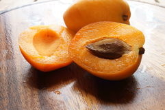 Fresh apricots. On the table Stock Photo