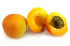 Fresh apricots on white background. Stock Photo