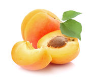 Fresh apricots. On a white background stock photos