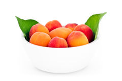 Fresh apricots in the white bowl isolated Royalty Free Stock Photo