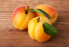 Fresh Apricots on Wood Stock Photo