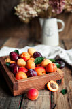 Fresh apricots in a wooden box on vintage background Stock Photography