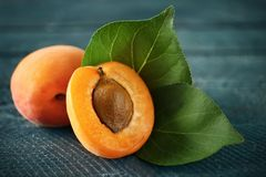 Fresh apricots on table Stock Photography