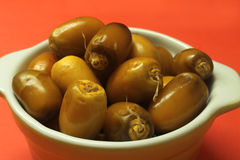 Fresh Arabic dates in a bowl Stock Images