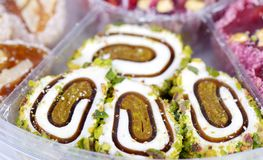 Fresh arabic sweets. Arabic sweets with nuts  , close up shot Stock Photos