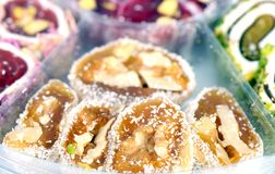 Fresh arabic sweets Royalty Free Stock Photos