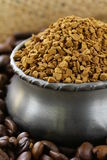 Fresh aromatic coffee beans and instant coffee Royalty Free Stock Images