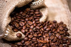 Fresh aromatic coffee imported directly in vintage packaging Royalty Free Stock Image