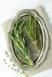 Fresh aromatic herbs rosemary and thyme on metal plate Stock Photo