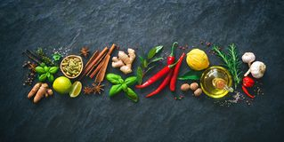 Fresh aromatic herbs and spices for cooking Stock Image