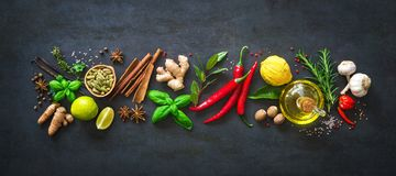 Fresh aromatic herbs and spices for cooking Royalty Free Stock Photography